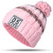 Women Winter Hat Scarves Gloves Set Cotton Kintted Pompom Hats Stripe Thick Beanie Collar Gloves - Pink