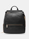 Women PU Leather Shoes Large Capacity 14 Inch Laptop Bag Backpack - Black