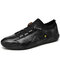 Men Cowhide Leather Lace-up Round Toe Soft Casual Driving Shoes - Black
