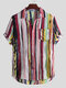 Mens Multi Color Graffiti Chest Pocket Round Hem Loose Short Sleeve Shirts - Red