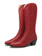Plus Size Retro Women Pattern PU Western Embroidered Chunky Heel Mid-calf Cowboy Boots - Red