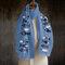 女性無地印刷パターンリネン長いスカーフショールラップ多目的エレガントなネックラップ暖かいスカーフ - 青い