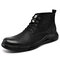 Men Cow Leather Round Toe Waterproof Non Slip Tooling Boots - Black