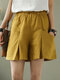 Elastic Waist Solid Color Wide Leg Casual Shorts For Women - Yellow