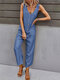 Casual Solid Button Front Pocket Jumpsuit for Women - Blue