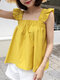 Solid Square Collar Ruffle Short Sleeve Women Blouse - Yellow