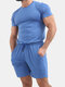 Mens Cotton Solid Color Two Piece Outfits Short Sleeve T-Shirt & Drawstring Shorts Casual Set - Blue