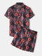 Mens Ethnic Paisley Print Casual Light Loose Lapel Collar Two Pieces  Outfits - Black
