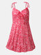 Summer Holiday Floral Print Backless Strap Knotted Sexy Dress - Red