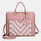 Women Design Striped Business Handbag Multifunction Crossbody Bag - Pink