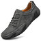 Men Leather Breathable Non Slip Soft Sole Casual Driving Shoes - Grey