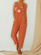 Cartoon Daisy Floral Letter Printed Jumpsuit With Pocket - Orange
