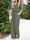 Solid Color Lapel Collar Button Short Sleeve Jumpsuit With Pocket - Green