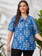 Cartoon Print Knotted V-neck Short Sleeve Ethnic Plus Size Blouse for Women - Blue