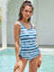 Plus Size Women Stripe Print Ruched Side One Piece Slimming Swimsuit - Blue