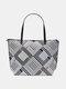 Women Bohemia PU Leather Ethnic Geometric Pattern Printed Shoulder Bag Handbag Tote - 14