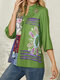 Ethnic Print Button Three-quarters Sleeve Casual Blouse for Women - Green