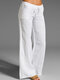 Woman Casual Sweet Solid Pants With Pocket - White