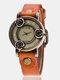 Vintage Thin Band Women Wrist Watch Three Roses Hollow Dial Quartz Watch - Orange
