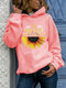 Flower Letter Print Long Sleeve Casual Hoodie For Women - Pink