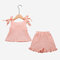 Girl's Bowknot Sleeveless Solid Color Ruffled Casual Clothing Set For 1-7Y - Pink