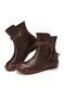 SOCOFY Retro Ethnic Lace Tassel Decor Cowhide Leather Slip Resistant Soft Side Zipper Casual Short Boots - Brown(Plush Lining)