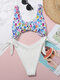 Mens Colorful Leopard Ribbed Knotted One Piece High Fork Swimsuits - White