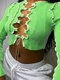 Patchwork Cross Straps Sexy Long Sleeve Crop Top For Women - Green