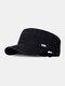 Men Cotton Solid Color Metal Logo Outdoor Sunshade Casual Military Hat Flat Caps - Black