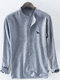 Mens Cotton Dog Embroidery Striped Printed Breathable Long Sleeve Henley Shirt - Blue