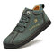Men Rubber Toe Hand Stitching Leather Lace Up Ankle Boots - Green