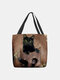 Women Felt Cat Pattern Handbag Shoulder Bag Tote - Coffee