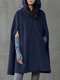 Solid Color Button Long Sleeve Casual Cape Coat for Women - Navy