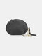 Women Genuine Leather Cute Animal Cat Pattern Mini Hanging Coin Bag Keychain Wallet Storage Bag - Black
