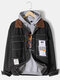 Mens Tag Print Contrast Collar Button Up Cotton Outdoor Stylish Denim Jackets - Black