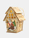 1Pc Christmas Wooden Christmas Lighted Wooden Cabin Creative Assembly Small House Decoration Luminous Colored Cabin - #04