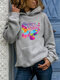 Butterfly Letter Print Long Sleeve Casual Hoodie For Women - Gray
