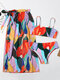 Women Colorful Abstract Printed Spaghetti Straps Bikinis Swimsuit With Cover Up - Orange