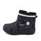 Unisex Kids Letter Printed Waterproof Cloth Plush Warm Winter Snow Boots - Gray