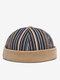COLLROWN Men & Women Stitching Stripe Pattern Casual Brimless Beanie Landlord Cap Skull Cap - Blue