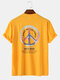 Mens Text Ombre Graphic Oversized 100% Cotton Short Sleeve T-Shirts - Yellow