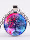 Vintage Gemstone Glass Printed Women Necklaces Colored Tree Of Life Pendant Necklaces - #01
