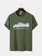 Mens Kansas Building Print Casual Short Sleeve 100% Cotton T-Shirts - Army Green