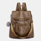 Women Solid Large Capacity Anti theft Casual Shoulder Bag Backpack - Brown