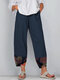 Floral Printed Patchwork Elastic Waist Pants For Women - Navy