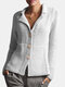 Solid Color Button Long Sleeve Casual Cardigan For Women - Gray