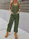 Casual Solid Button Front Pocket Jumpsuit for Women - Green