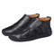 Menico Large Size Men Hand Stitching Hook Loop Leather Ankle Boots