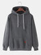 Mens Solid Color Plain Casual Drawstring Hoodies With Pouch Pocket - Dark Gray