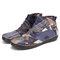 SOCOFY Retro Pattern Cloth Splicing Metal Buckle Zipper Soft Flat Boots - Grey